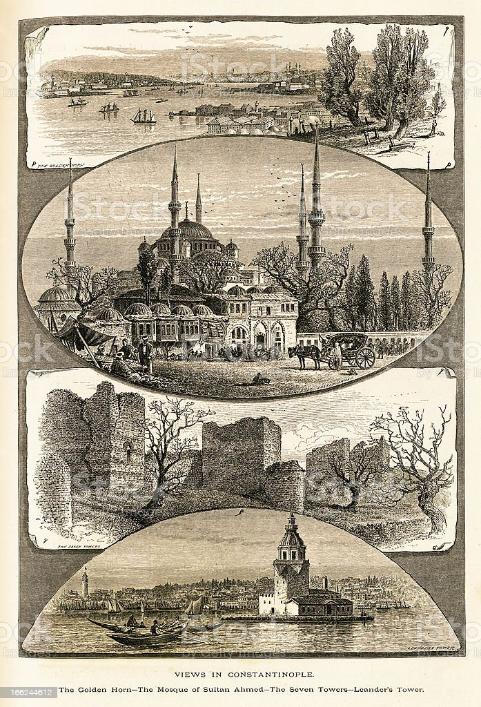 Views in Constantinople (Istanbul), Turkey royalty-free stock vector art