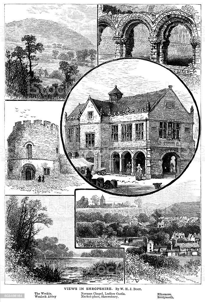 Views in Shropshire, England vector art illustration