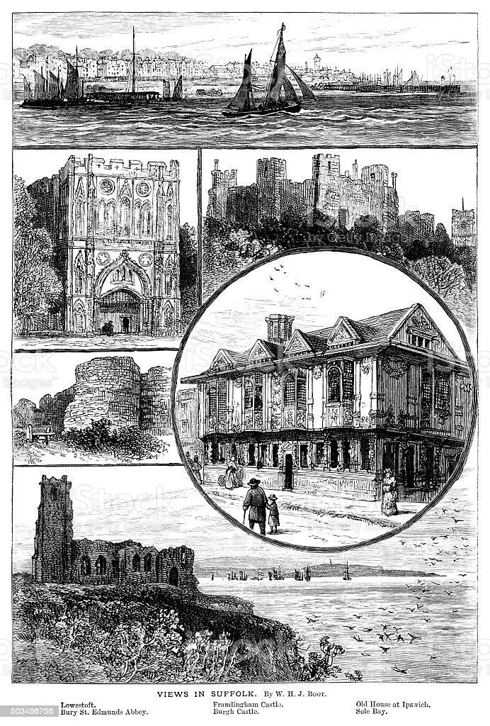 Views in Suffolk, England vector art illustration