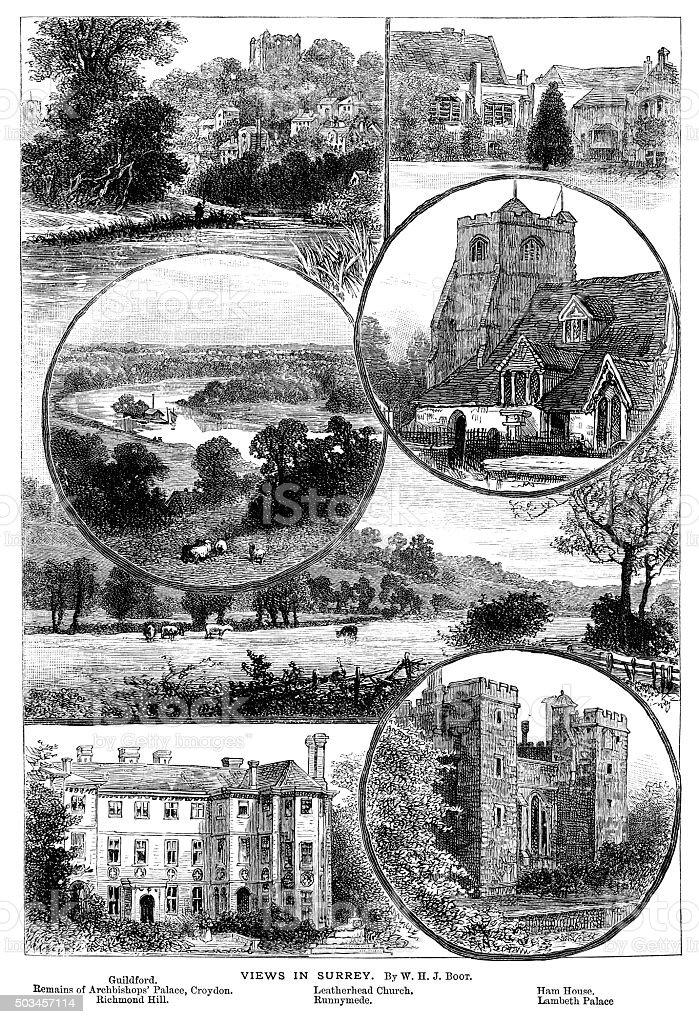 Views in Surrey, England vector art illustration