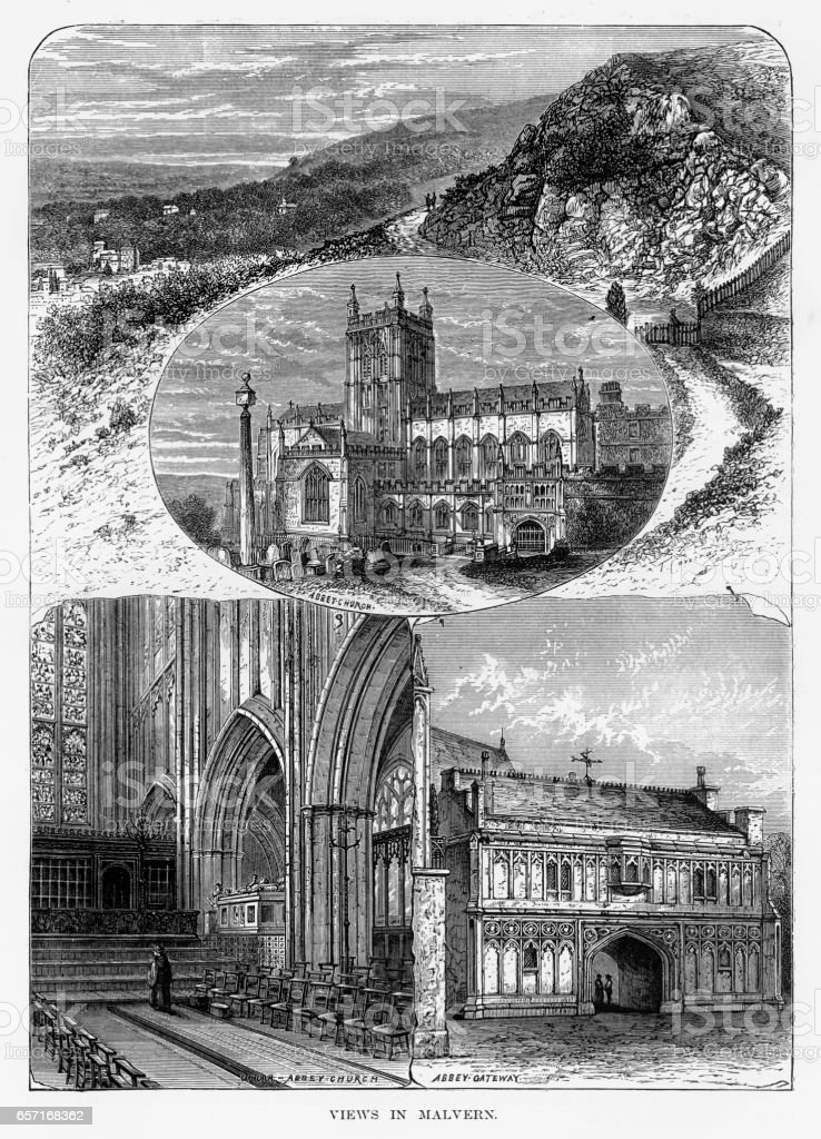 Views of Malvern in Worcestershire, England Victorian Engraving, 1840 vector art illustration