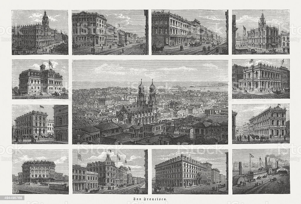 Views of San Francisco, published in 1874 vector art illustration