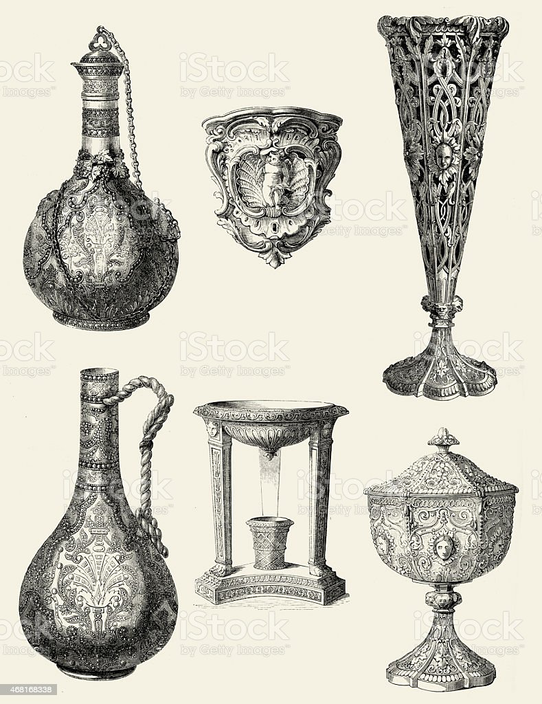 Viictorian chalices and decanters vector art illustration