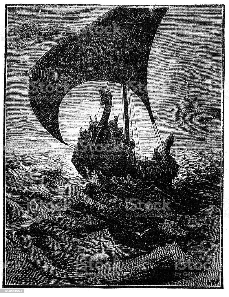 Viking Longship vector art illustration