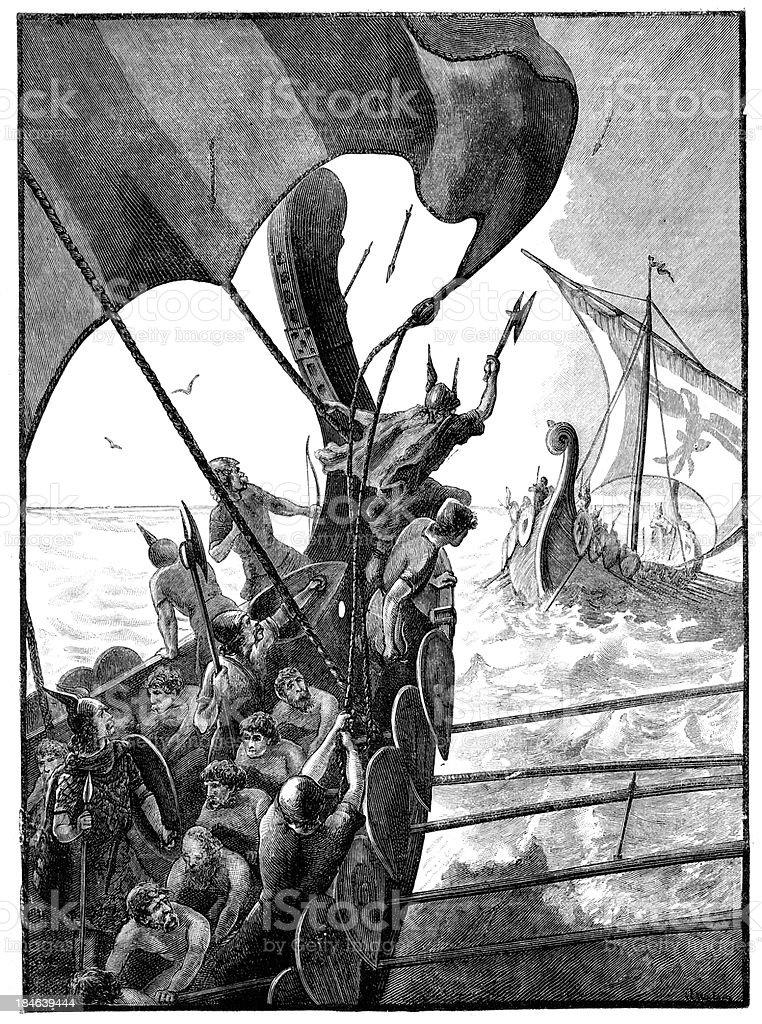 Viking Longships at War vector art illustration