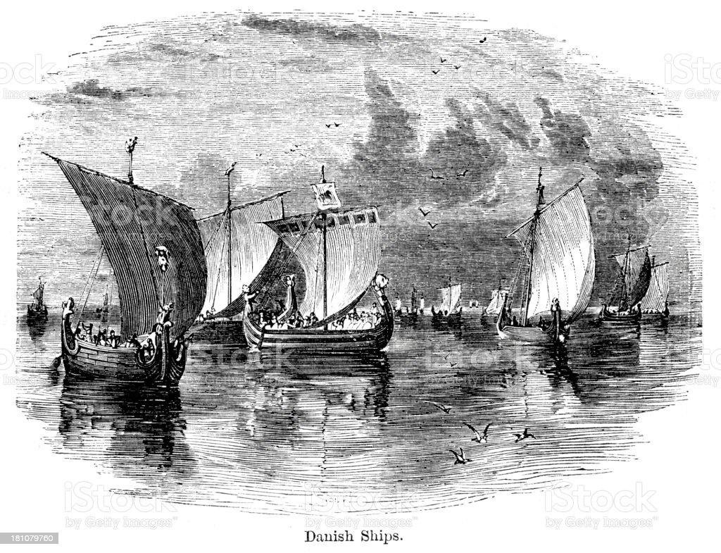 Viking Ships vector art illustration