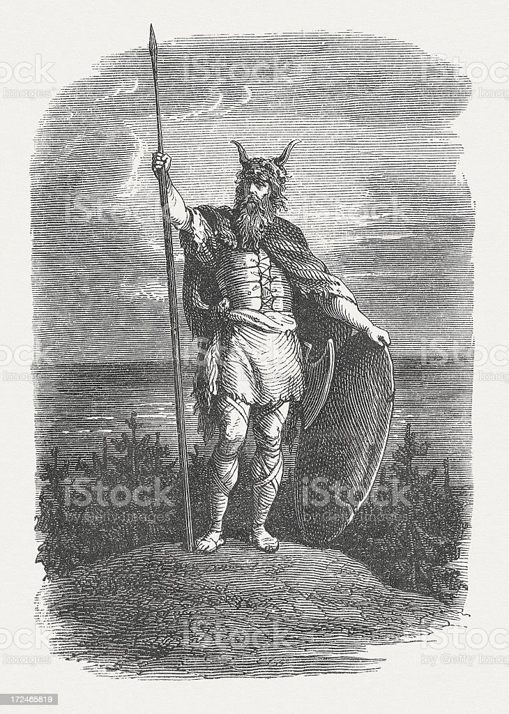 Viking warrior, wood engraving, published in 1871 royalty-free stock vector art