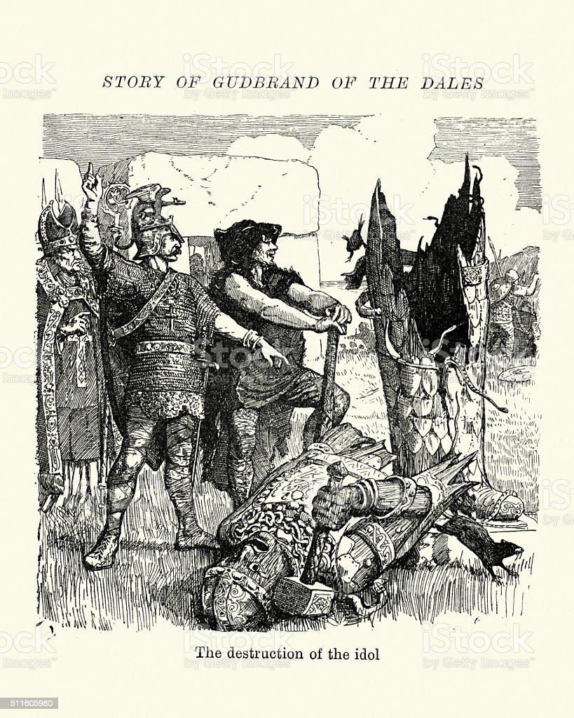 Vikings Norse Sagas - Gudbrand of the Dales vector art illustration