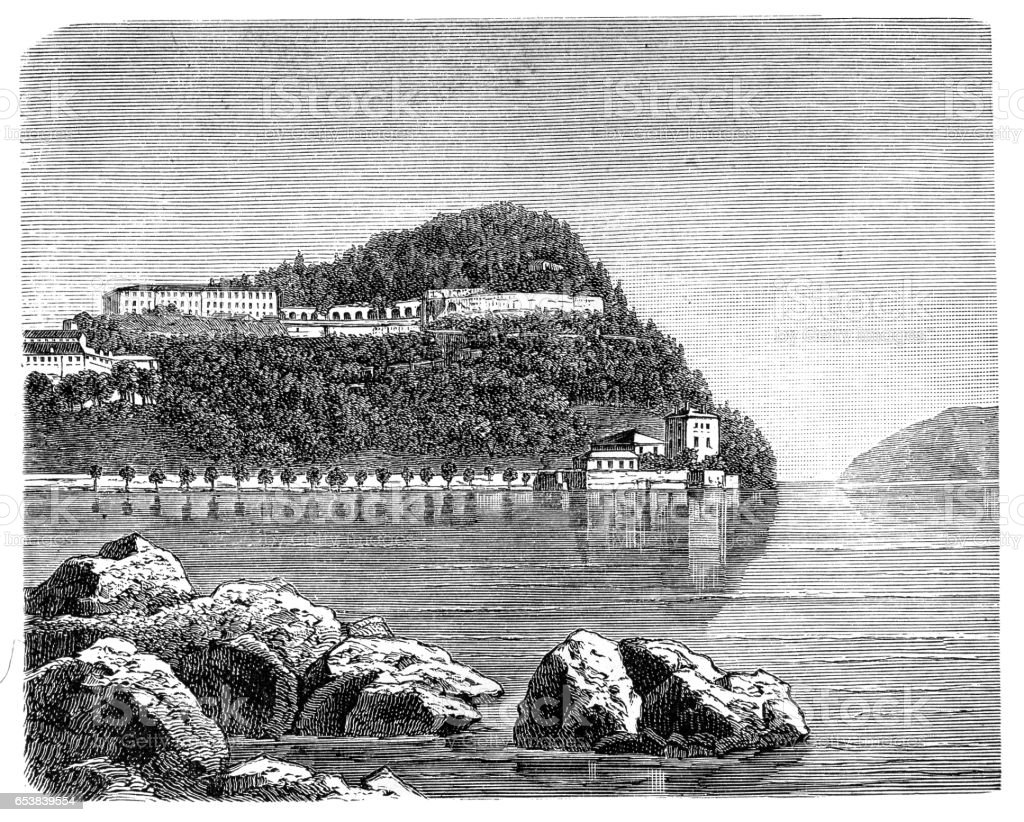 Villa Serbelloni on Lake Como vector art illustration