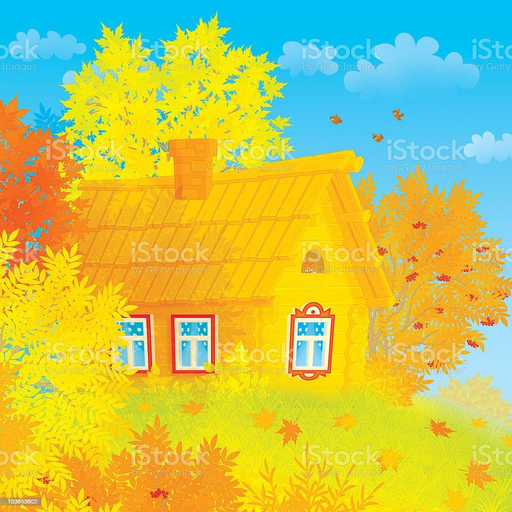 Village house vector art illustration