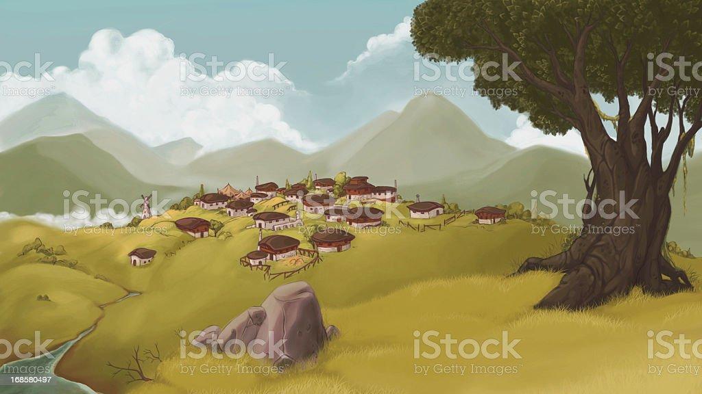 Village vector art illustration