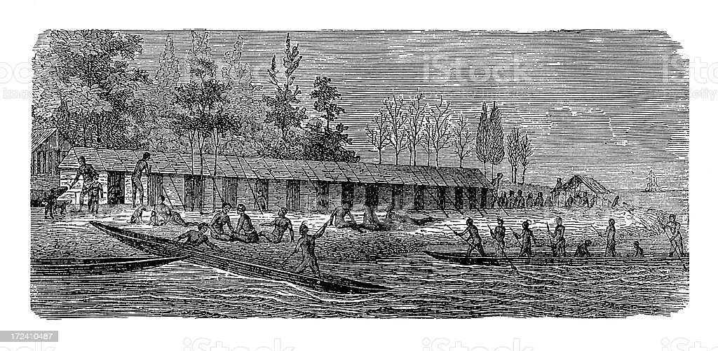 Village in New Guinea (antique wood engraving) royalty-free stock vector art