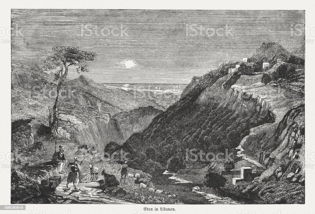 Village of Eden in Libanon, wood engraving, published in 1855 vector art illustration