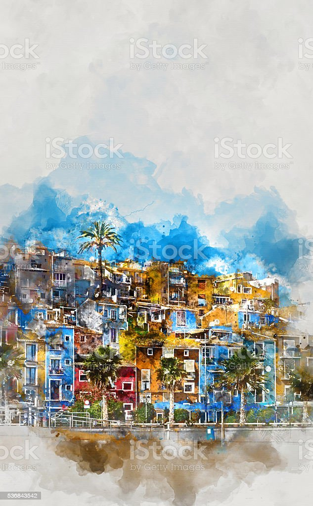 Villajoyosa skyline vector art illustration