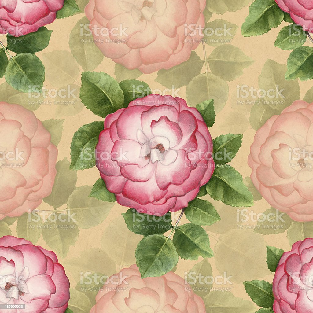 Vinage artistic seamless pattern with watercolor flowers royalty-free stock vector art