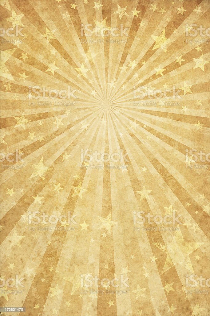 vinatge paper with rays and stars vector art illustration