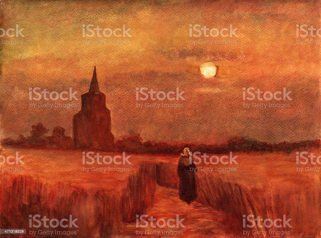 Vincent's Old Tower in the Fields vector art illustration