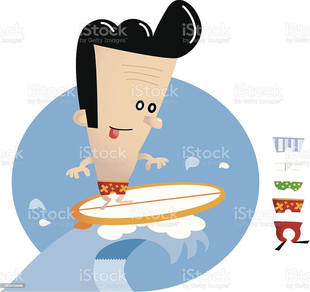 Vinnie Learns to Surf royalty-free stock vector art