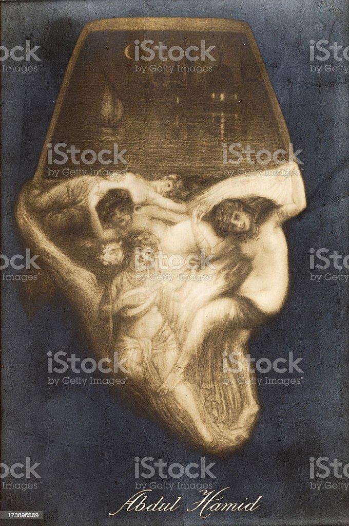 Vintage Abdul Hamid Illusional Illustration royalty-free stock vector art