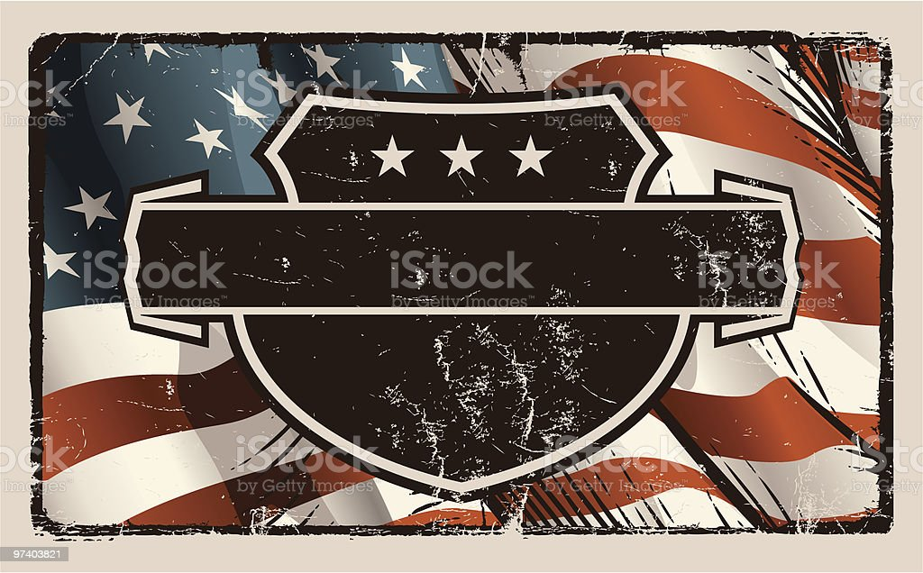 Vintage American Flag with Crest royalty-free stock vector art
