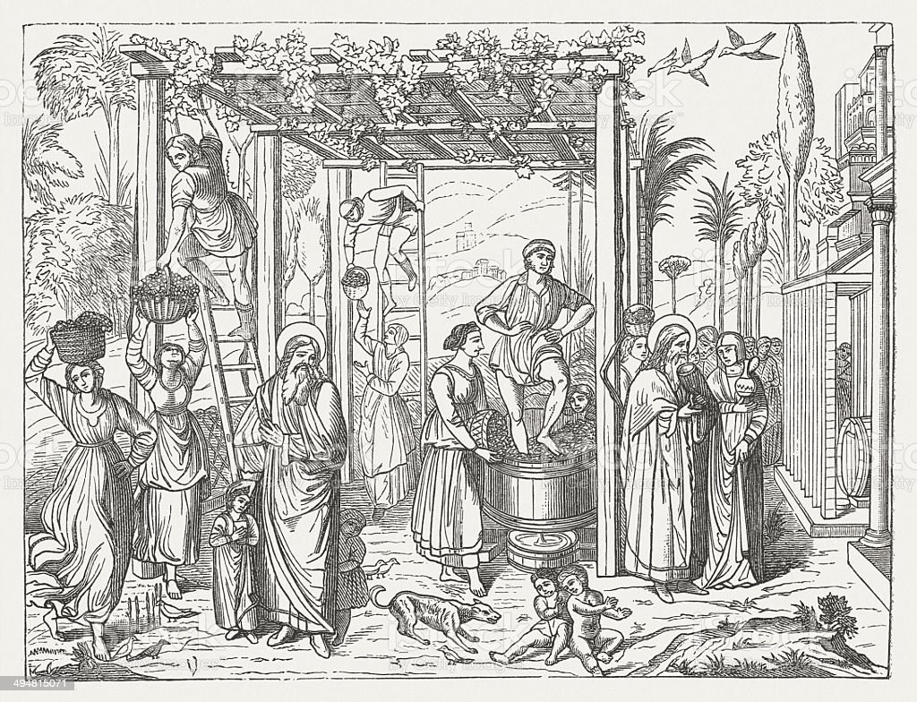 Vintage and Drunkenness of Noah, by Benozzo Gozzoli, published 1881 royalty-free stock vector art