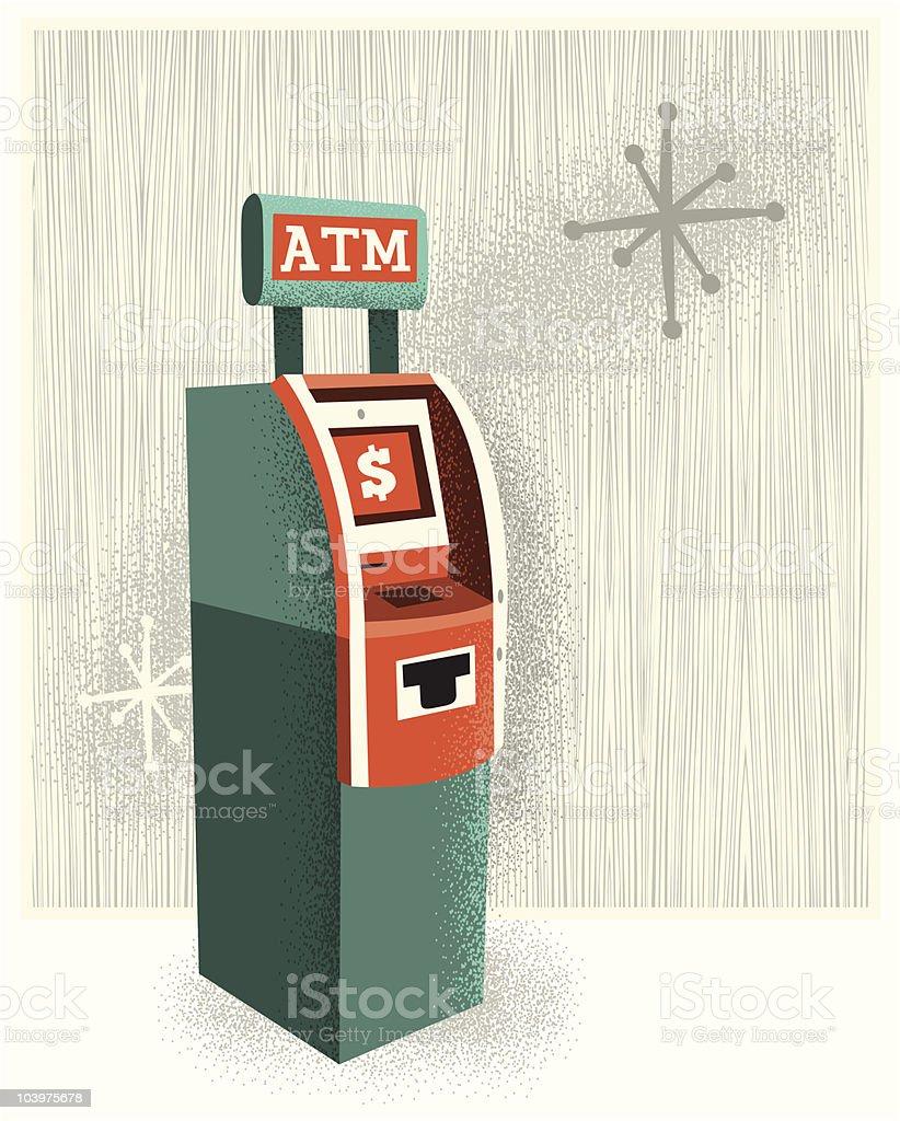 Vintage ATM vector art illustration