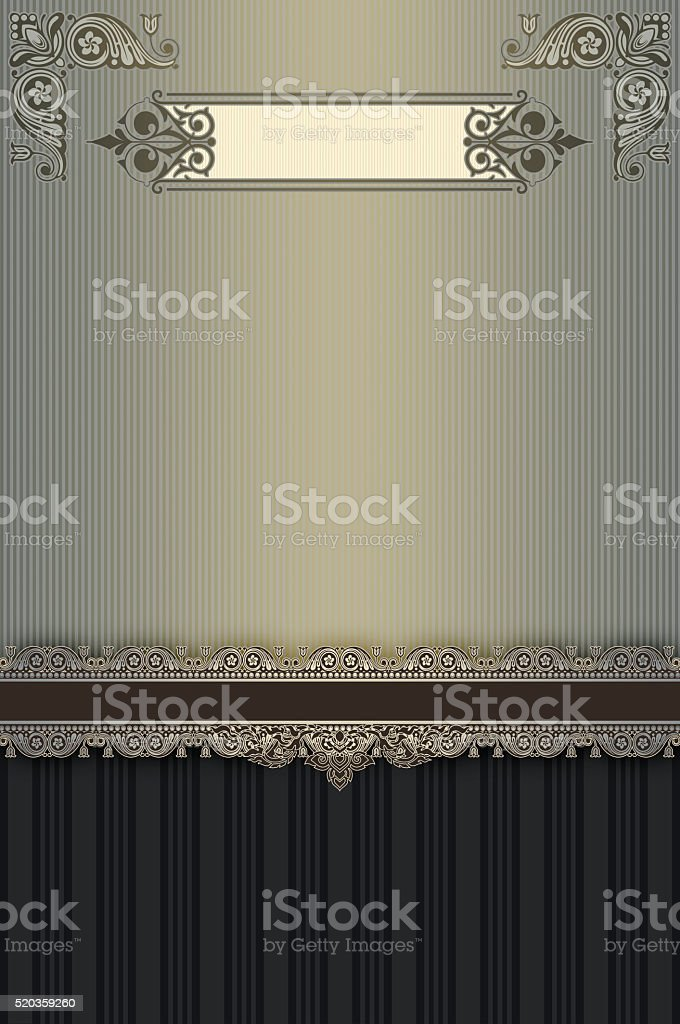 Vintage background with decorative border and corners. stock photo