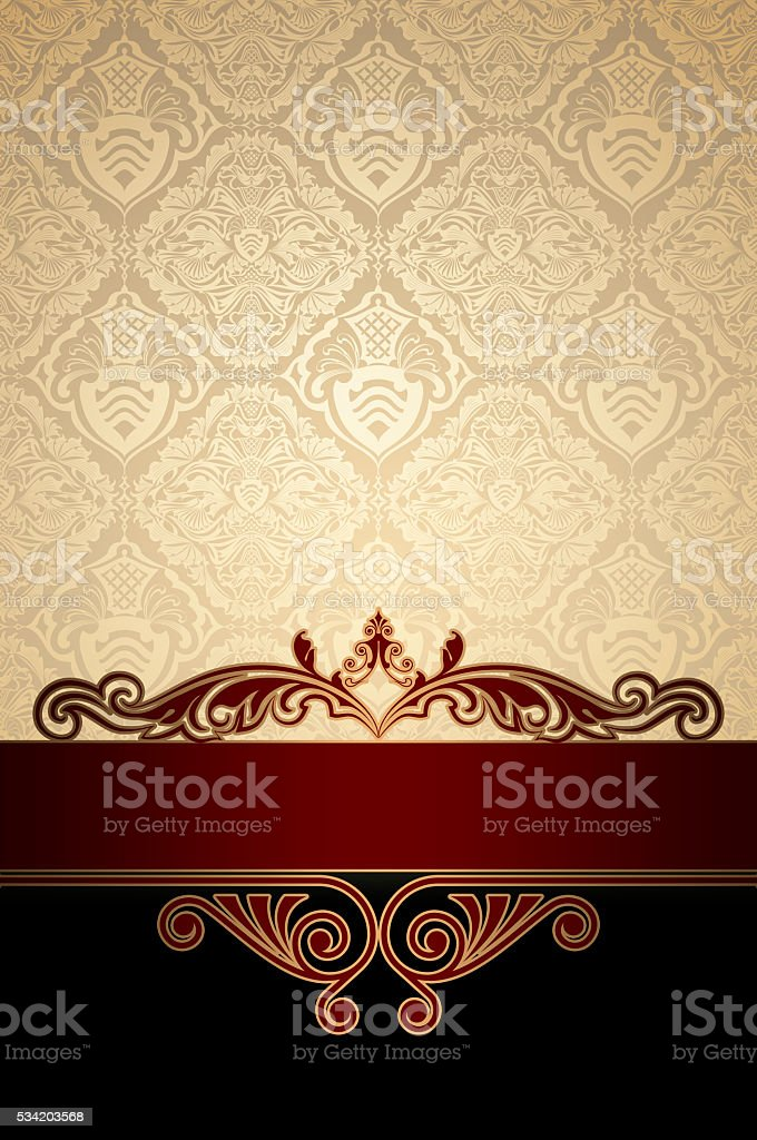 Vintage background with decorative border and ornaments. stock photo