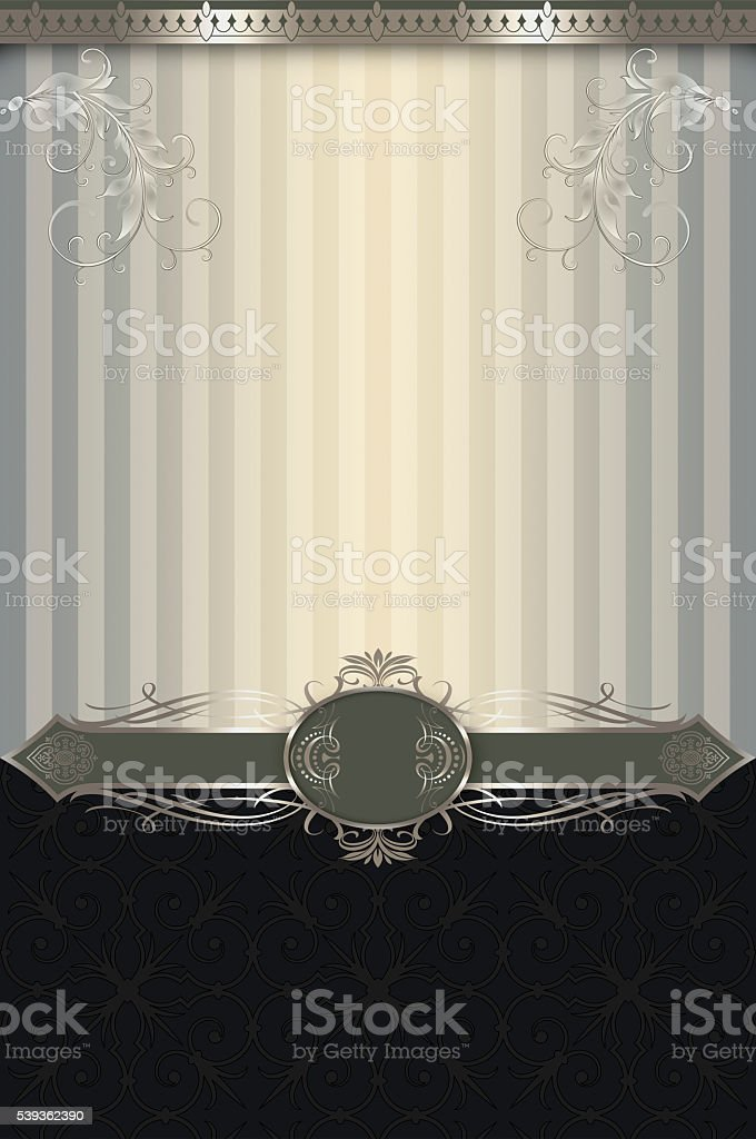 Vintage background with decorative border and patterns. stock photo