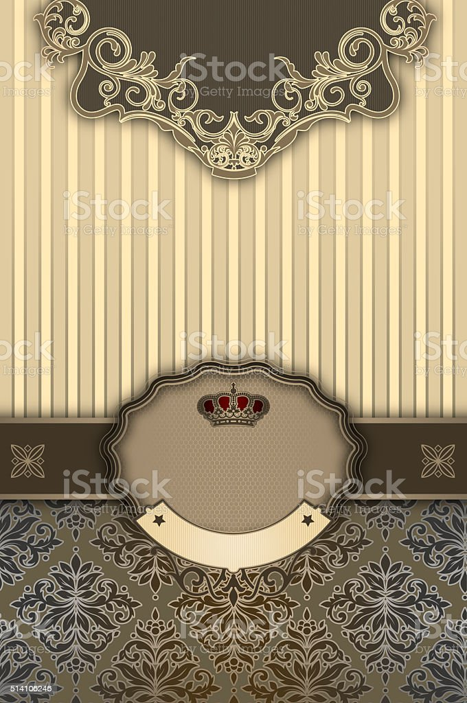 Vintage background with decorative patterns and border. stock photo