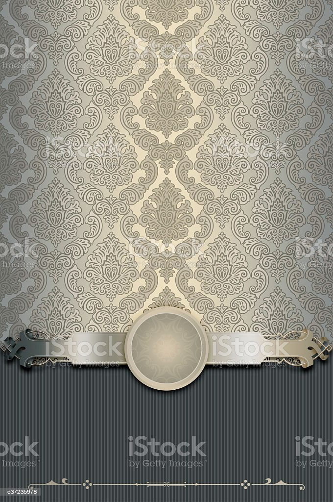 Vintage background with old-fashioned patterns and elegant borde stock photo