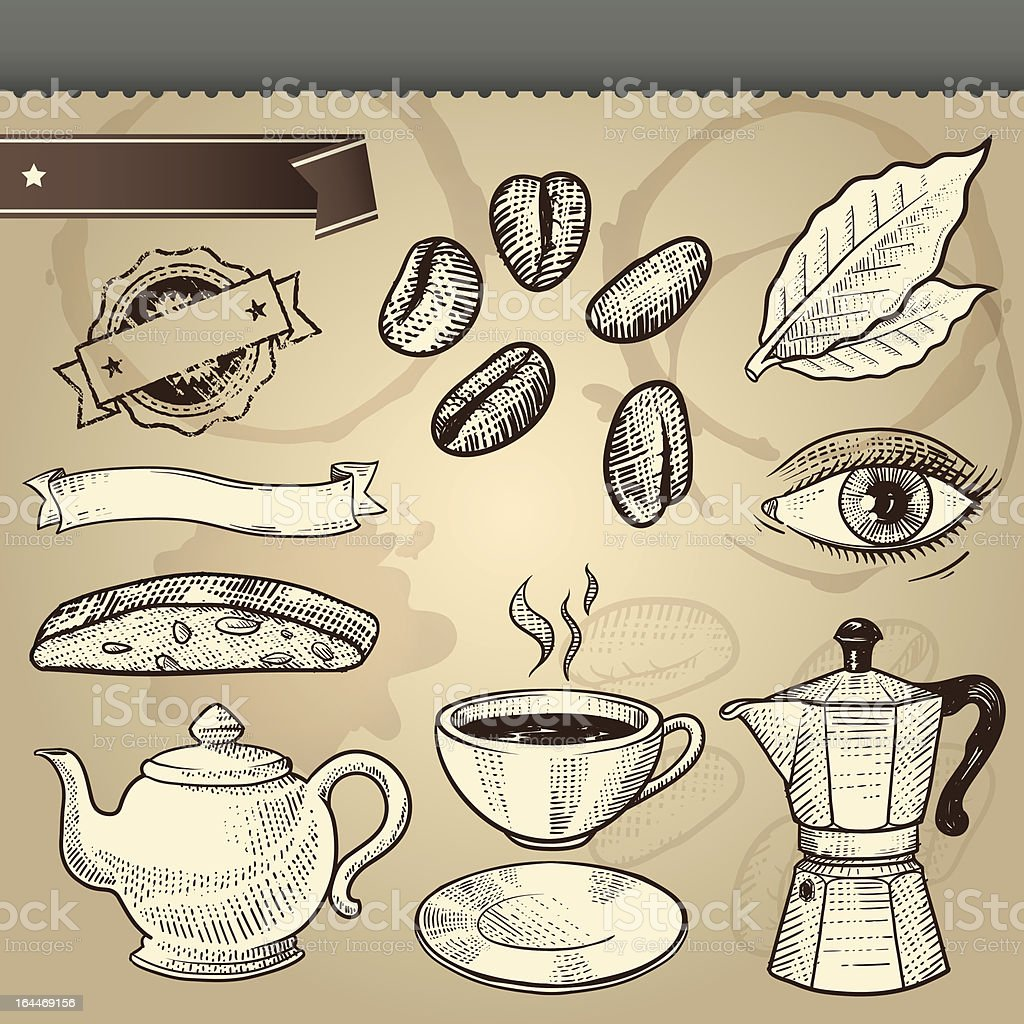 Vintage Best Coffee Cafe Vector Elements Set royalty-free stock vector art