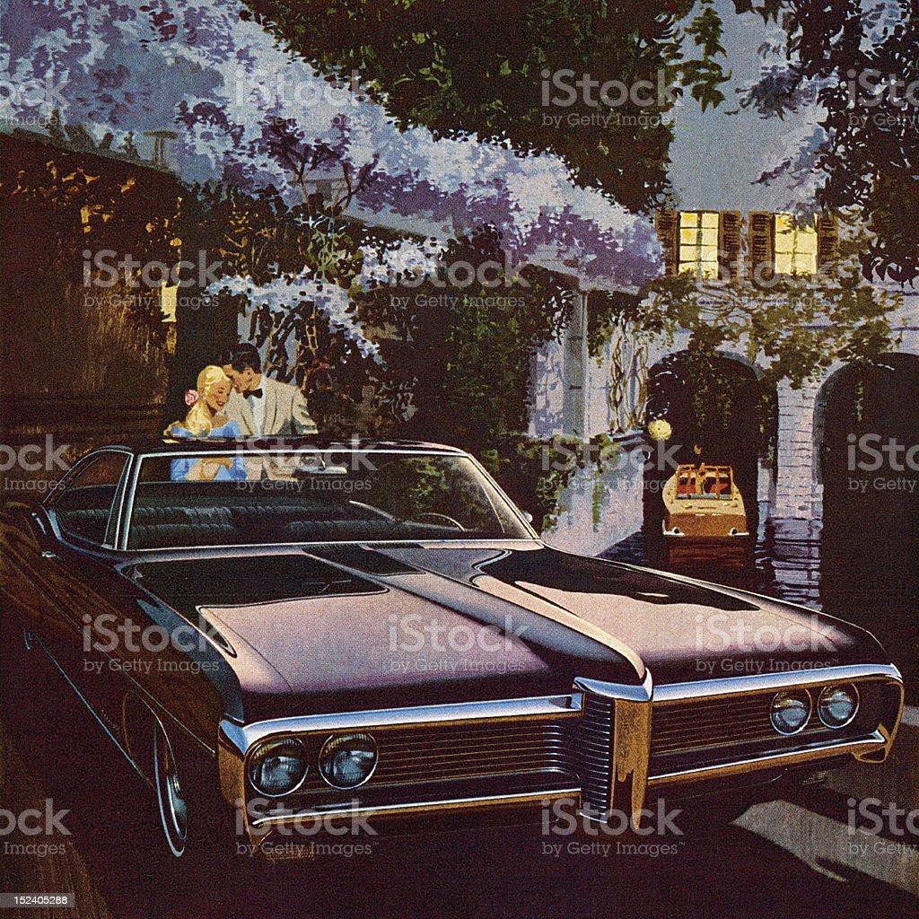 Vintage Black Car royalty-free stock vector art