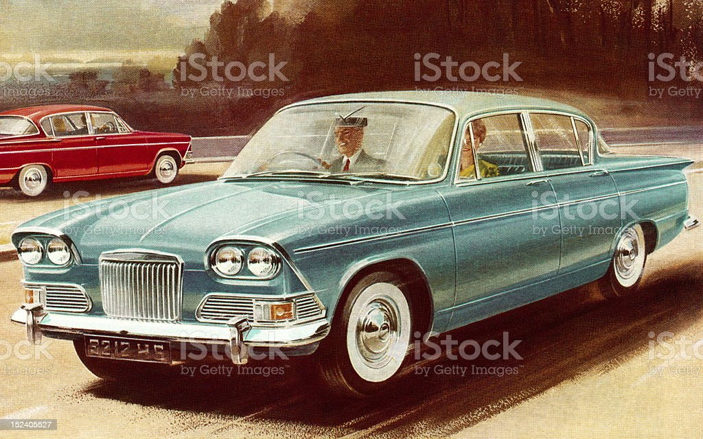 Vintage Blue Car royalty-free stock vector art