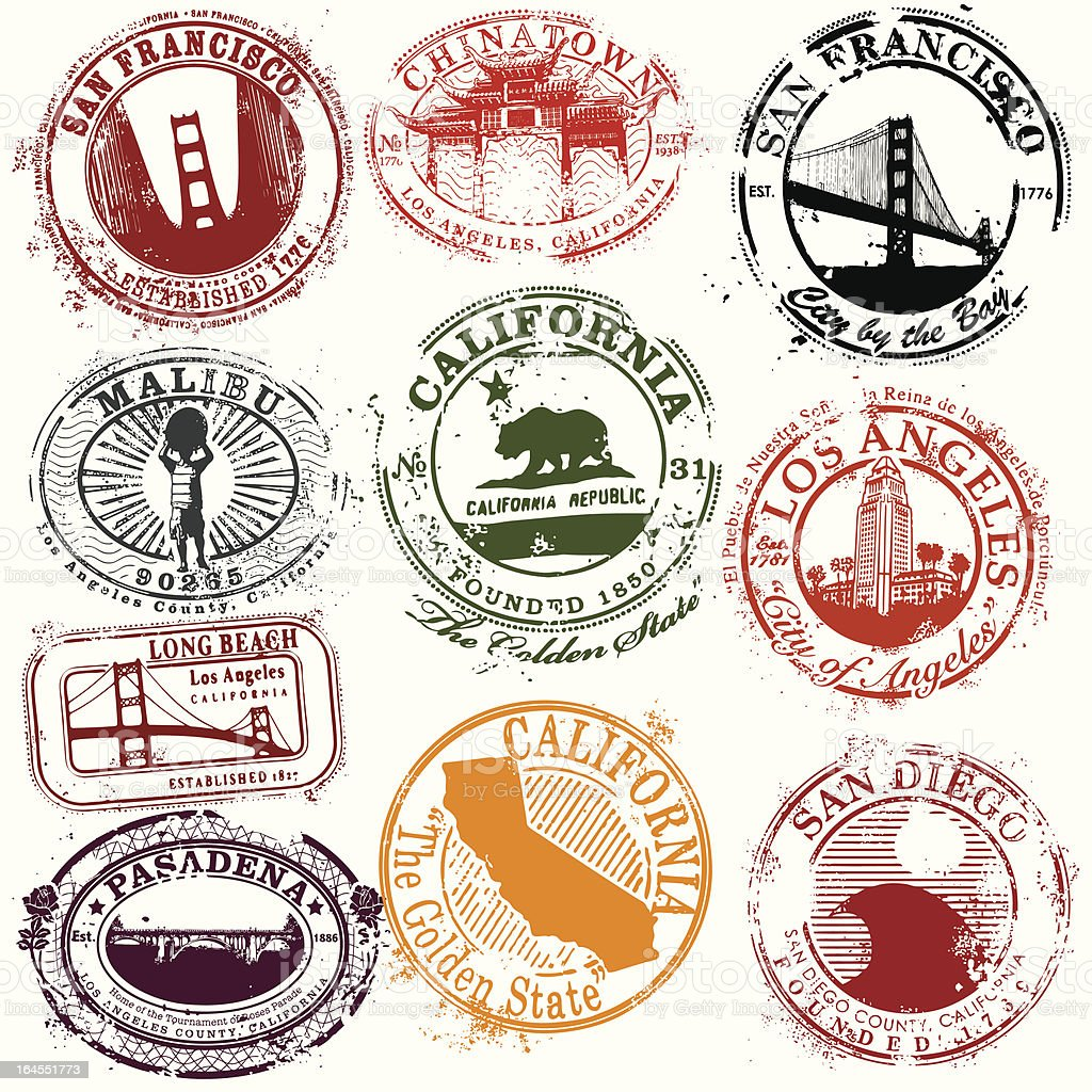 Vintage California Travel Stamps royalty-free stock vector art