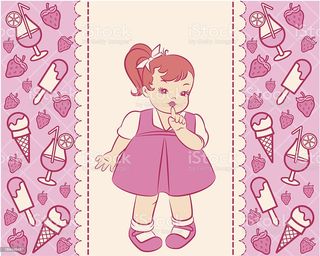 Vintage cartoon little girl with a sweetness. Vector royalty-free stock vector art