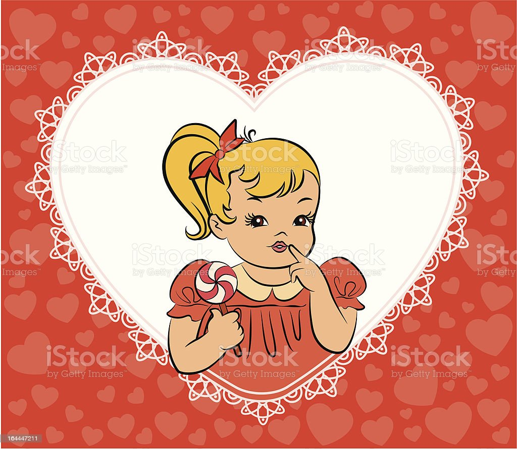 Vintage cartoon little girl with candy. Vector royalty-free stock vector art