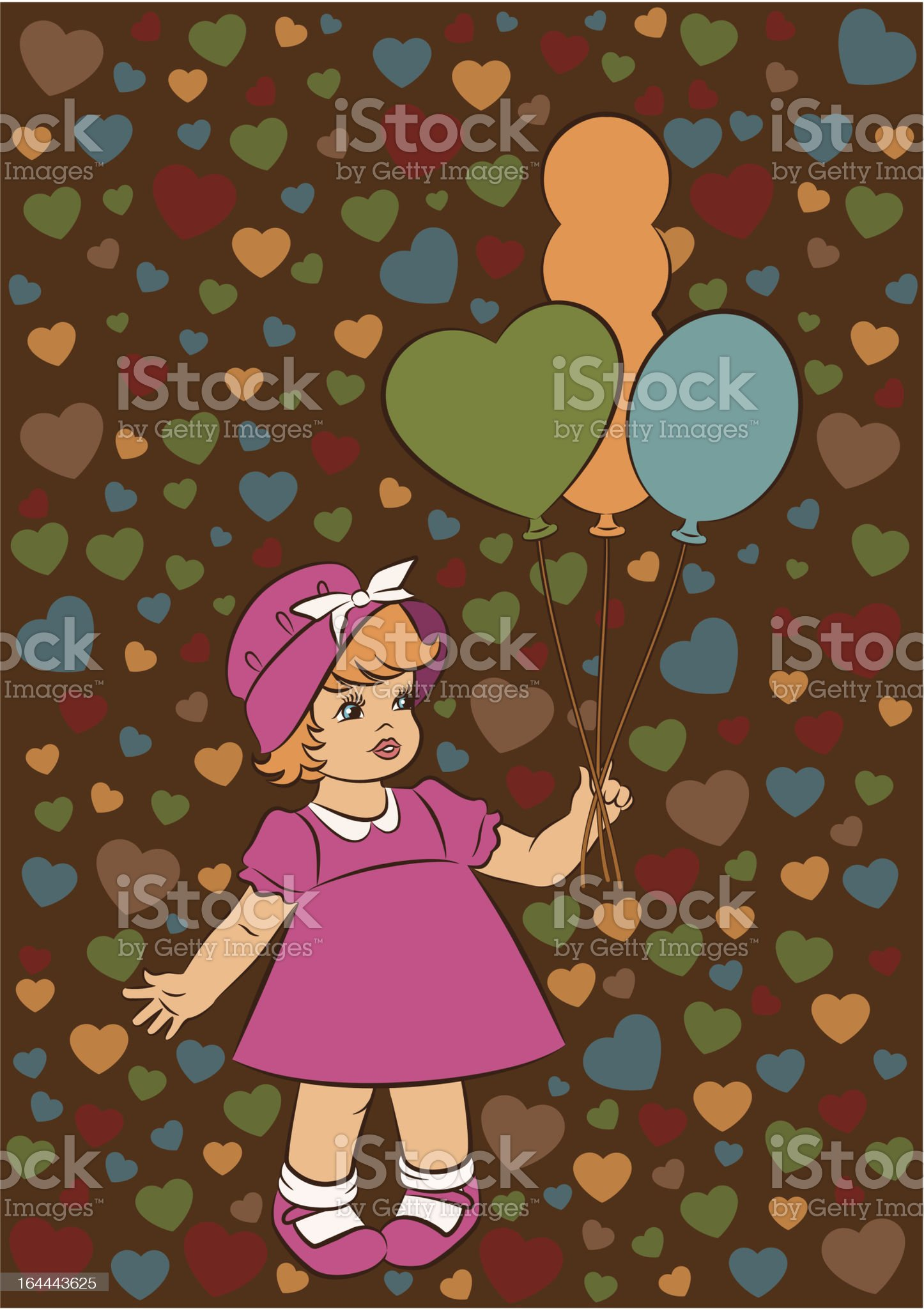 Vintage cartoon little girl with marbles. Vector royalty-free stock vector art