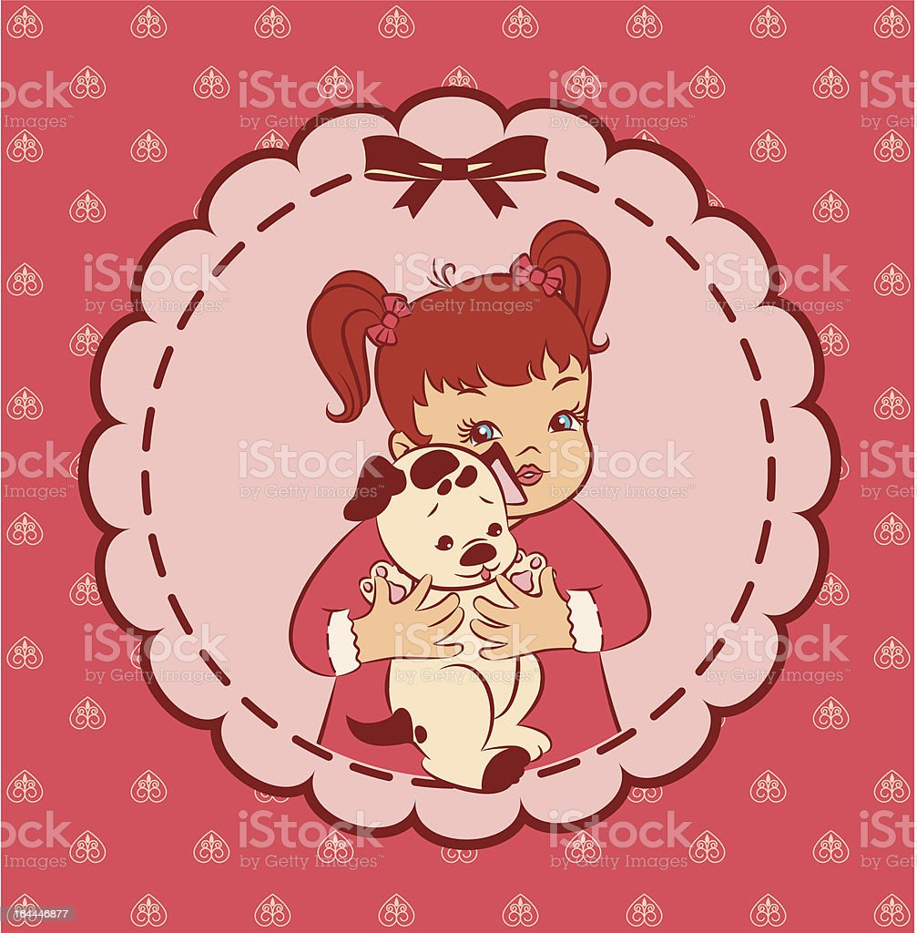 Vintage cartoon little girl with puppy royalty-free stock vector art