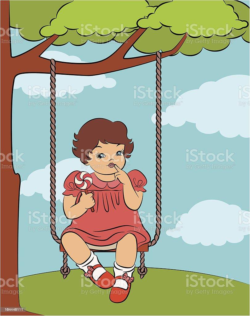 Vintage cartoon little girl with swings. Vector royalty-free stock vector art