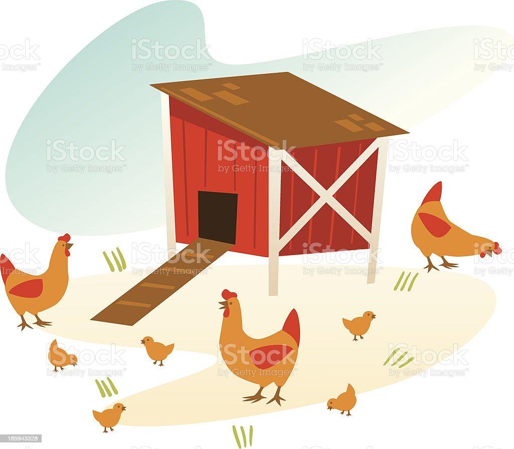 vintage chicken coop vector art illustration