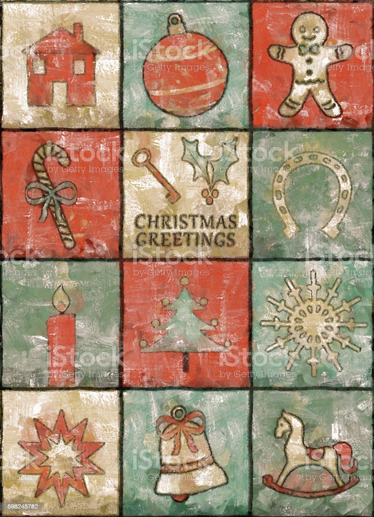 Vintage Christmas Card Painting vector art illustration