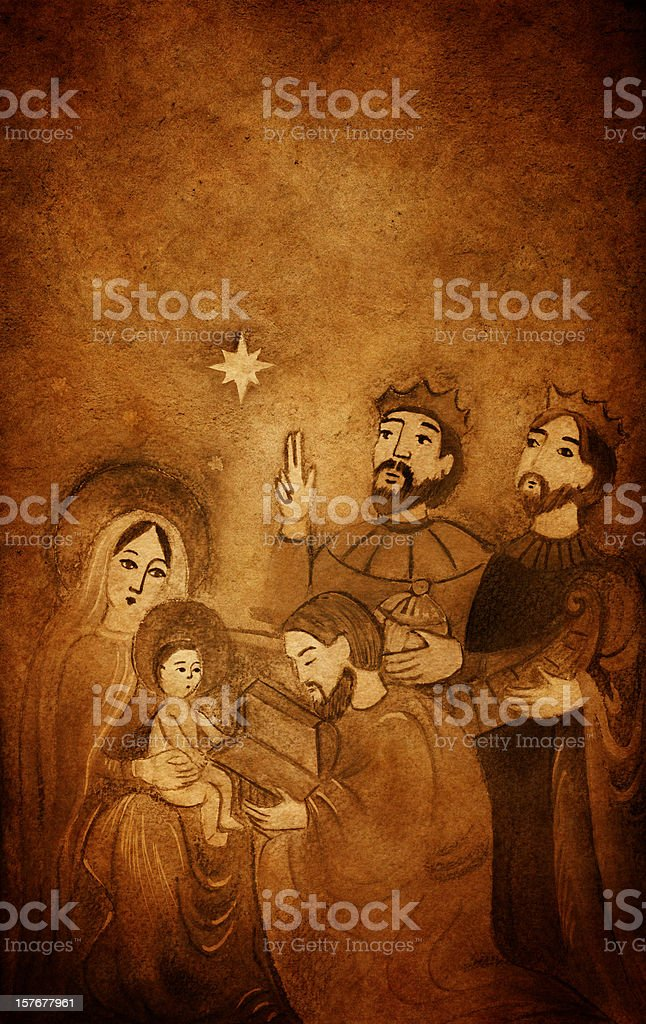 Vintage Christmas Nativity Scene with Wise Men royalty-free stock vector art