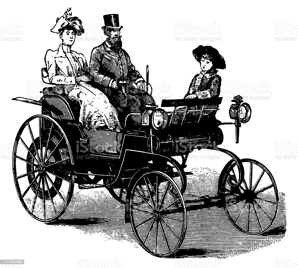 Vintage Clip Art and Illustrations | Antique Car with Passengers royalty-free stock vector art