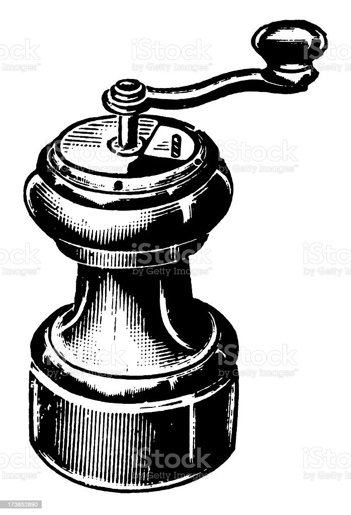 Vintage Clip Art and Illustrations | Antique Household Grinder royalty-free stock vector art