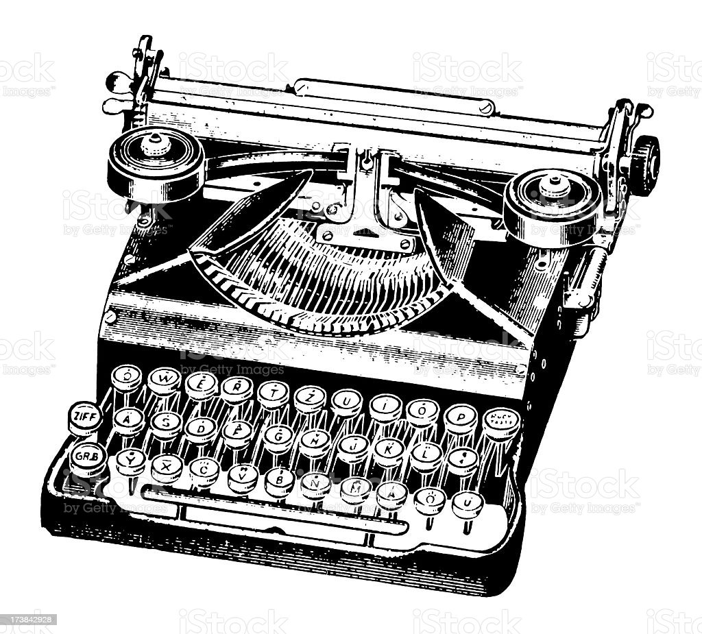 Vintage Clip Art and Illustrations | Antique Typing Machine royalty-free stock vector art