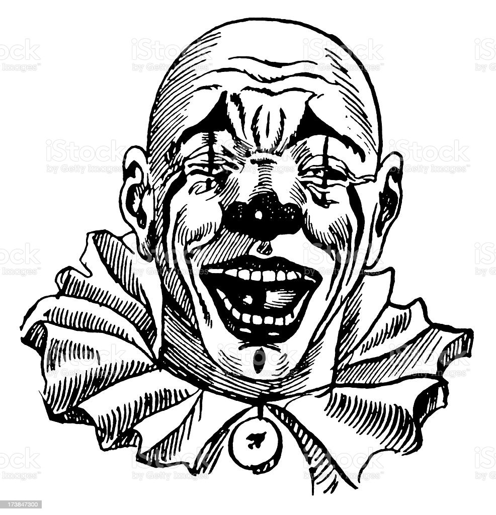 Vintage Clip Art and Illustrations | Clown Face vector art illustration