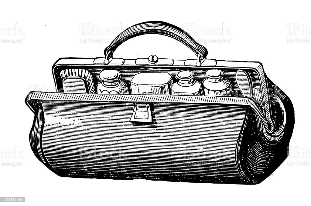 Vintage Clip Art and Illustrations | Cosmetic Bag royalty-free stock vector art