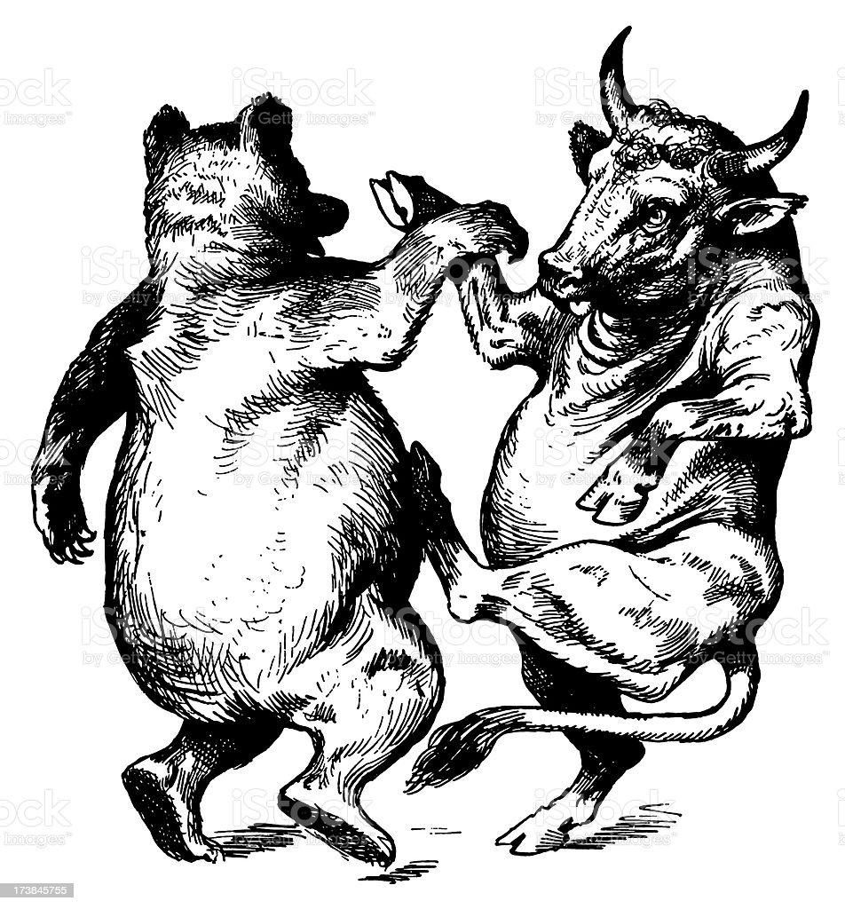 Vintage Clip Art and Illustrations | Dancing Bull & Bear vector art illustration