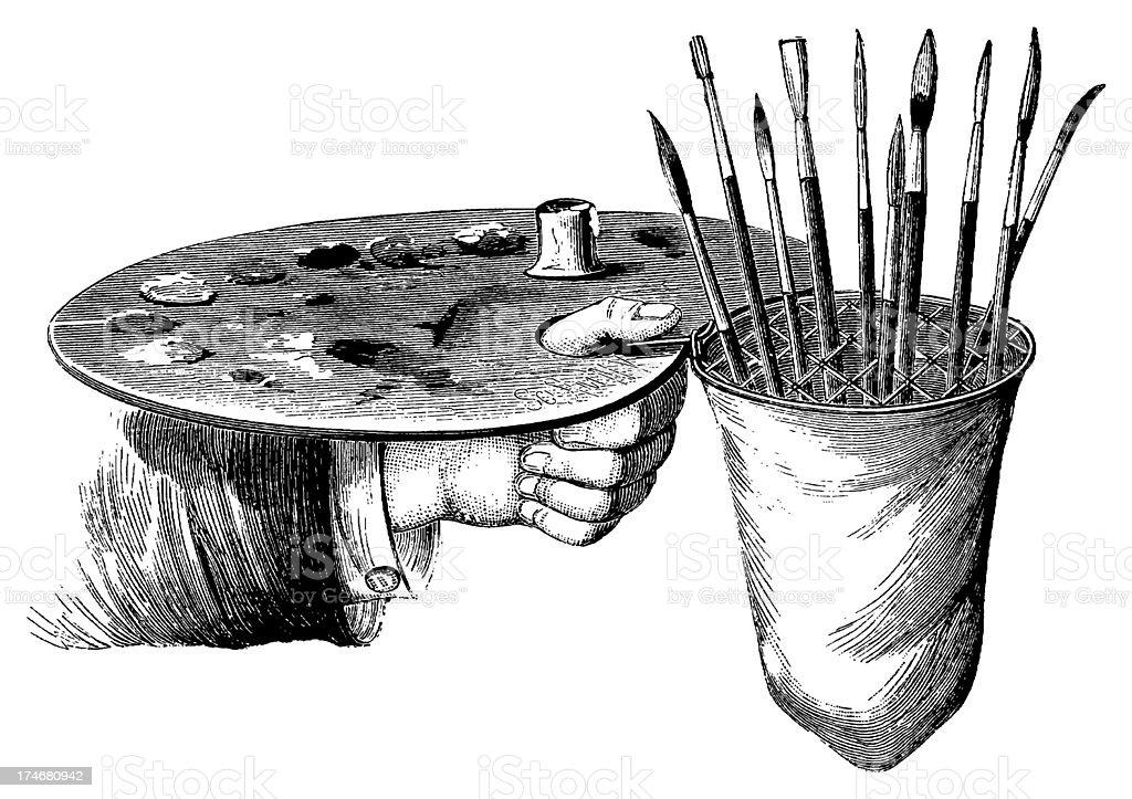 Vintage Clip Art and Illustrations   Painting Tools vector art illustration